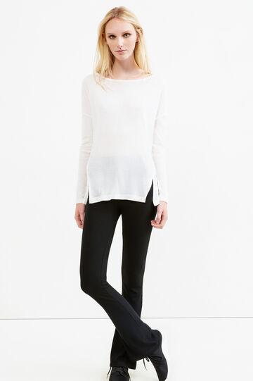 T-shirt a costina con spacchetti, Bianco latte, hi-res