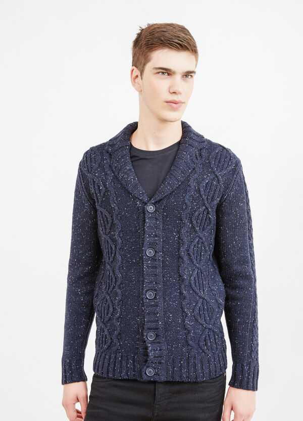Knitted cardigan with shawl collar. | OVS