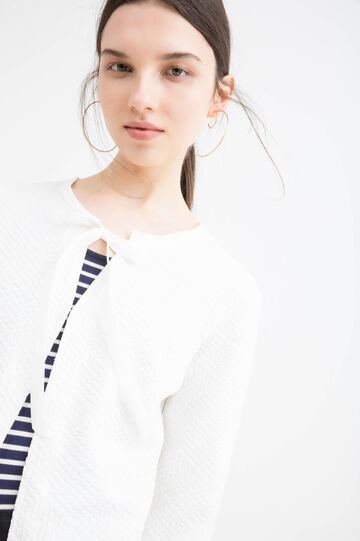 Stretch cardigan with bow, White, hi-res