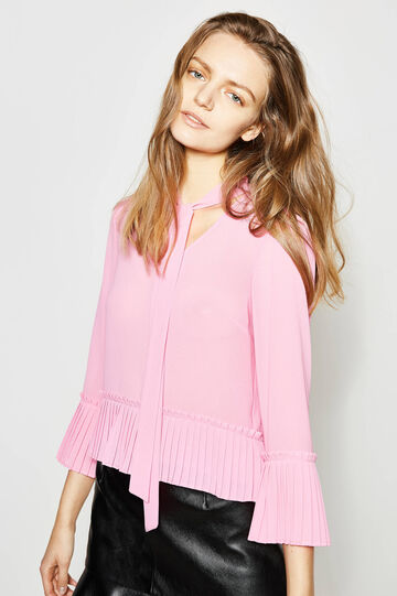 Crop blouse with pleated flounce, Ancient Pink, hi-res