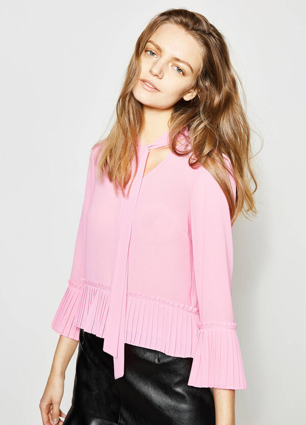 Crop blouse with pleated flounce | OVS