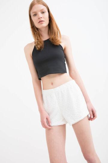 Solid colour openwork shorts, Ecru, hi-res