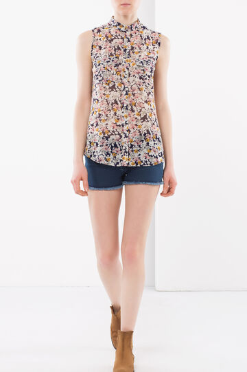 Camicia smanicata floreale, Bianco/Rosa, hi-res