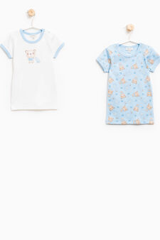 Two-pack undershirts with pattern, White/Light Blue, hi-res