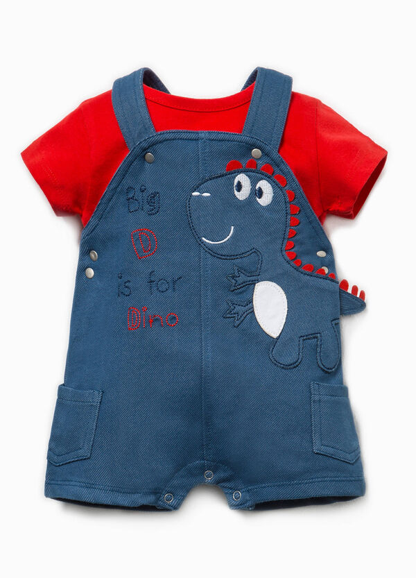 Dinosaur T-shirt and dungaree outfit | OVS