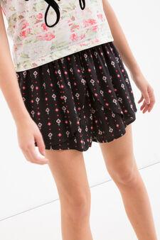 Gonna pantalone stampata Teen, Nero, hi-res