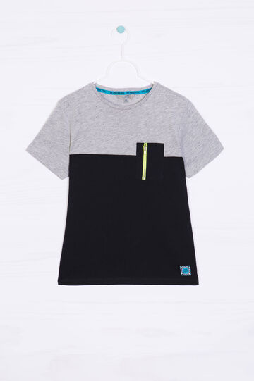 100% cotton T-shirt with pocket, Black/Grey, hi-res