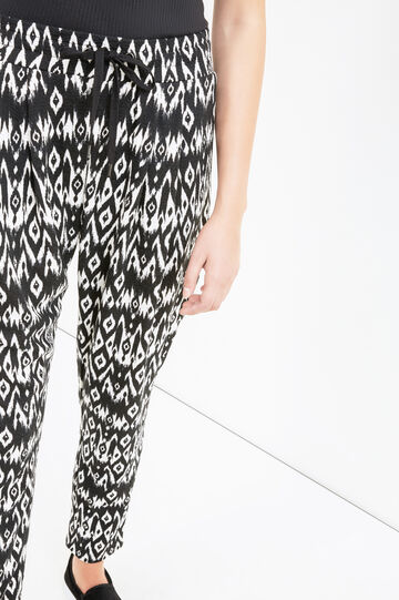 Jacquard patterned joggers, Milky White, hi-res