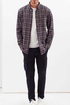 100% cotton check shirt, Dark Grey, hi-res