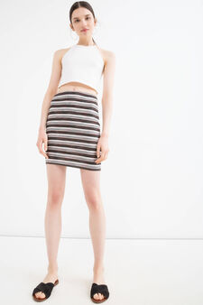 Stretch striped viscose skirt, Multicolour, hi-res