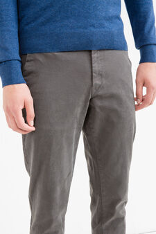 Slim fit, stretch cotton chino trousers, Dark Grey, hi-res