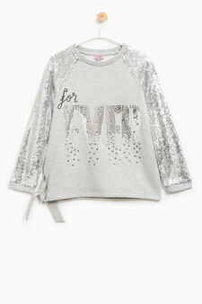 Sweatshirt with slit with bow and sequins, Grey, hi-res