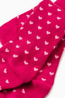 Stretch tights with heart pattern, Cyclamen pink, hi-res