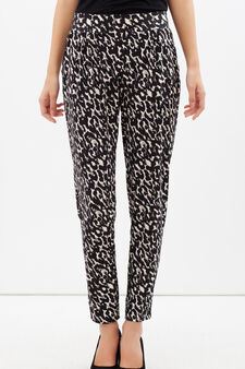 Stretch patterned trousers, Black/Yellow, hi-res