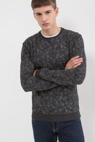 Cotton blend patterned sweatshirt, Black, hi-res