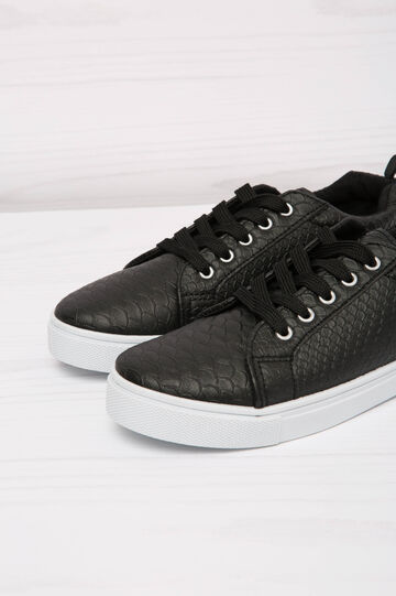 Low-rise sneakers with snakeskin upper, Black, hi-res