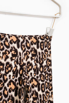 Stretch cotton leggings with animal print, Brown, hi-res