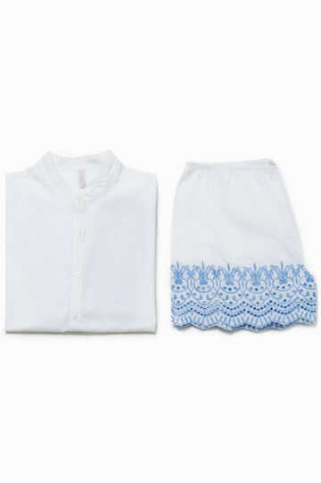 Embroidered top and shorts pyjama set
