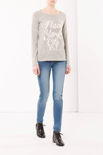 Sweatshirt with print, Grey Marl, hi-res