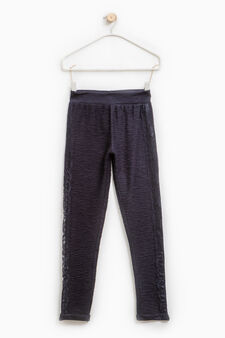 Trousers with embossed weave and lace, Dark Blue, hi-res