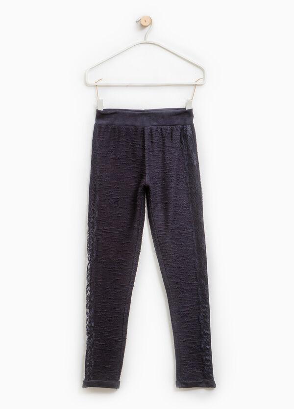 Pantaloni trama in rilievo con pizzo | OVS