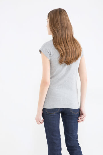 Cotton T-shirt with heart print, Grey Marl, hi-res
