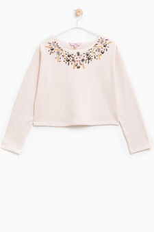 Diamanté sweatshirt in 100% cotton, Baby Pink, hi-res