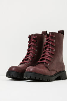 Solid colour combat boots with ties, Claret Red, hi-res