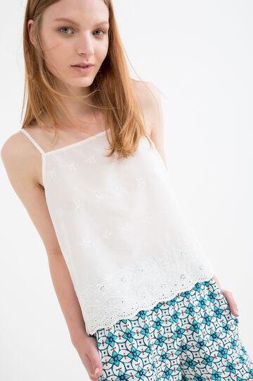 Solid colour 100% cotton top, White, hi-res