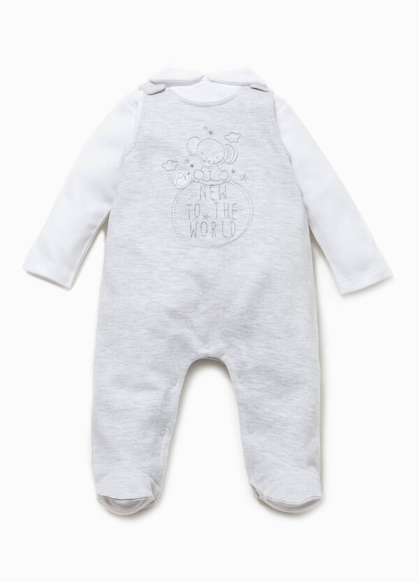 Faux layered onesie with dungarees | OVS