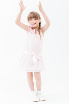 Sleeveless dress with a bow at the waist, Light Pink, hi-res