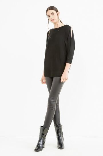 Viscose pullover with three-quarter sleeves, Black, hi-res