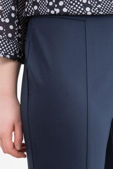 Plain stretch Curvy trousers, Navy Blue, hi-res