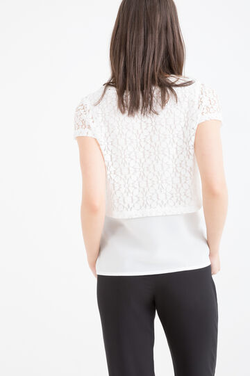 T-shirt misto cotone traforata, Bianco latte, hi-res