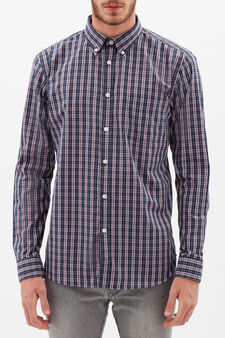 Tartan shirt with button down collar, Blue/Red, hi-res