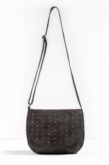 Shoulder bag with studs and flap, Grey, hi-res
