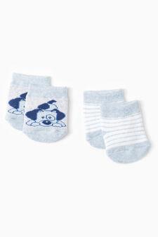Two-pair pack short socks, Light blue/Grey, hi-res