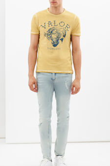 Printed T-shirt with contrasting stitching., Mustard Yellow, hi-res