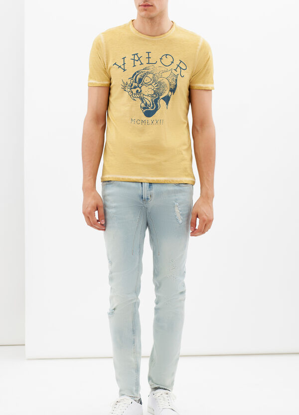 T-shirt stampata con cuciture a contrasto | OVS