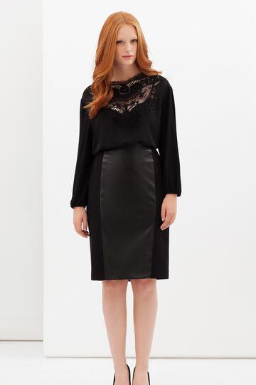 Curvyglam stretch skirt with insert, Black, hi-res