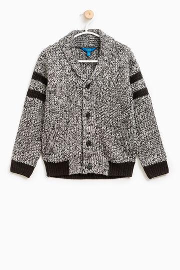 Knitted mélange cardigan with V neck, Black, hi-res