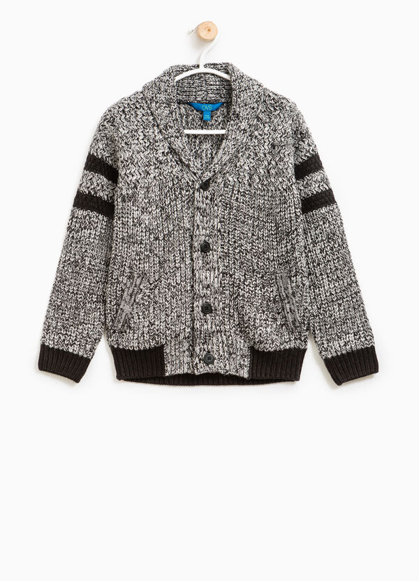 Knitted mélange cardigan with V neck | OVS