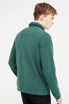 Fleece sweatshirt with high neck, Grass Green, hi-res