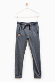 Solid colour cotton joggers with patch, Deep Blue, hi-res