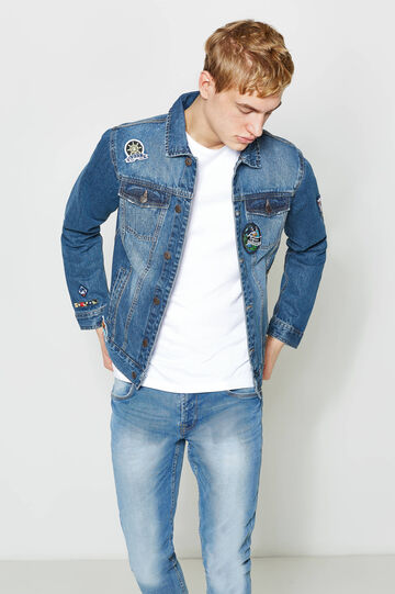 Giubbino di jeans con patch, Denim, hi-res