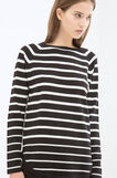 Striped cotton blend T-shirt, Black/White, hi-res