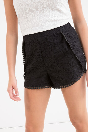 Teen stretch cotton shorts with lace, Black, hi-res