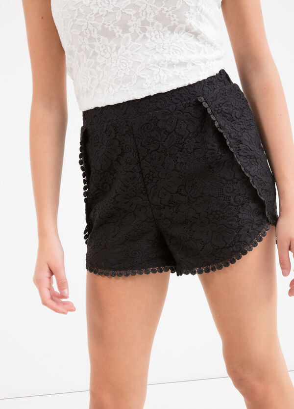Teen stretch cotton shorts with lace | OVS