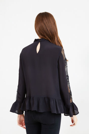 Blouse with frills and lace, Black, hi-res
