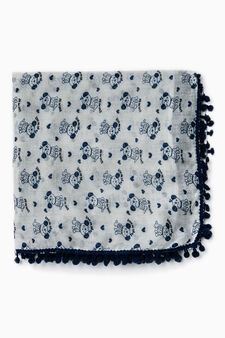 Patterned pashmina with pompoms, White, hi-res